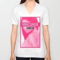 anaconda V-neck T-shirts featuring Anaconda by AllMaraj