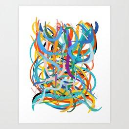 Colourful Line Art Abstract Art Good Vibes of Summer  Art Print