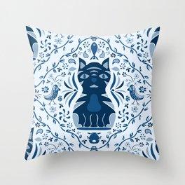 Bluesy Folk Cat Throw Pillow
