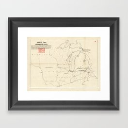 Railroad & The Northwestern States in 1850 Framed Art Print