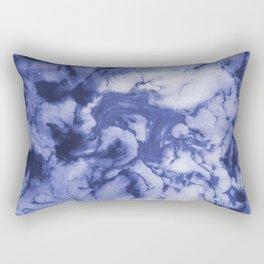 Asahi - spilled ink indigo blue water waves ocean topography map maps painting marble swirl blue Rectangular Pillow