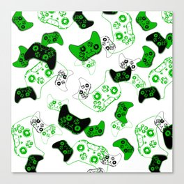 Video Game White and Green Canvas Print