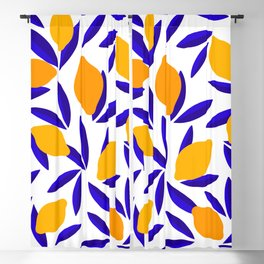 Blue and yellow Lemon Summery Pattern Blackout Curtain