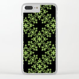 Greenery Vintage Brocade Damask Clear iPhone Case