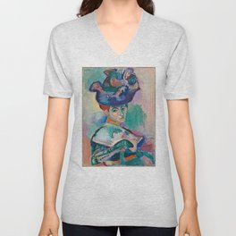 La femme au chapeau (Woman with a Hat) - Henri Matisse Unisex V-Neck
