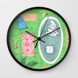 Green Tiled Bath drawing by Amanda Laurel Atkins Wall Clock