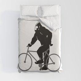 Bigfoot  riding bicycle Duvet Cover