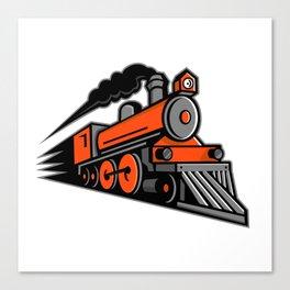 Steam Locomotive Speeding Mascot Canvas Print
