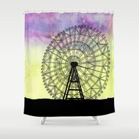 ferris wheel Shower Curtains featuring Ferris Wheel by Jessica Barst