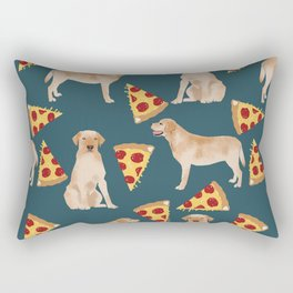 Yellow Labrador pizza cheesy slice of pizza food trendy pet gifts for yellow lab owners dog breed Rectangular Pillow