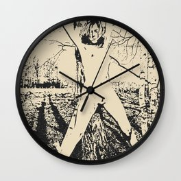 Slave girl, BDSM, Bondage in forest, woman tied to a tree, fetish artwork Wall Clock