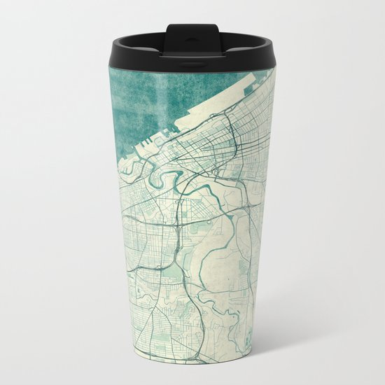 Cleveland Map Blue Vintage Metal Travel Mug