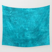 scuba Wall Tapestries featuring Scuba Blue Oil Painting Color Accent by Sara Valor