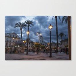 Sundown, Plaza Mayor Merida Spain Canvas Print