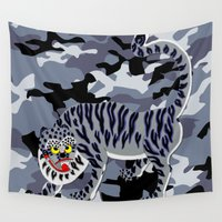 korean Wall Tapestries featuring Camouflaged Korean Tiger by Hapa Mandu