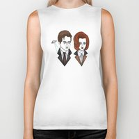 mulder Biker Tanks featuring mulder and scully by Bunny Miele
