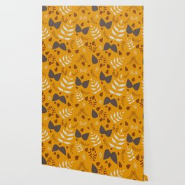 Autumn leaves and acorns - ochre and gray Wallpaper