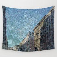 maps Wall Tapestries featuring Vienna on Maps by MehrFarbeimLeben