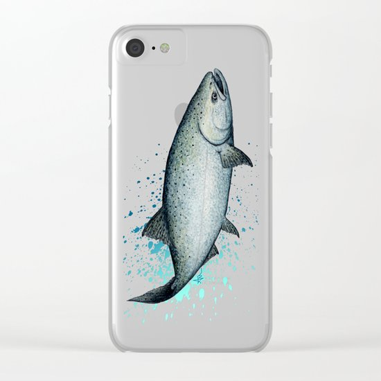 Salmon Splash ~ Watercolor Clear iPhone Case