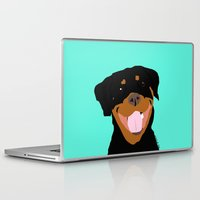 rottweiler Laptop & iPad Skins featuring Rottweiler graphic on Mint by Moni & Dog