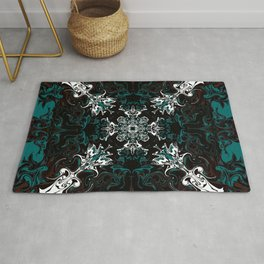 Black and Teal Graphic Design Rug