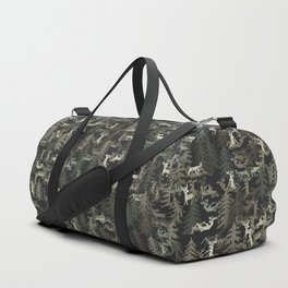camo sweater with banging deers in the forest Duffle Bag