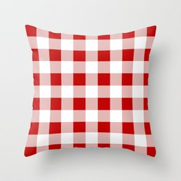 Red and White Check Throw Pillow
