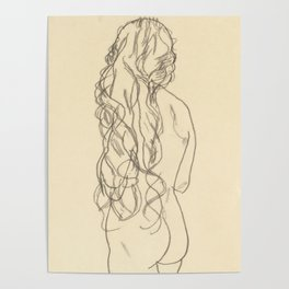 "Egon Schiele ""Standing nude girl with long hair"" Poster"