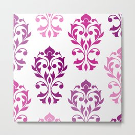 Heart Damask Art I Pinks Plums White Metal Print