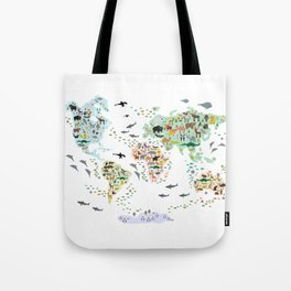 Cartoon animal world map for children and kids, Animals from all over the world back to school Tote Bag