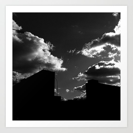 The Clouds above-Monochrome version Art Print
