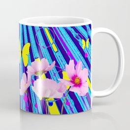 MODERN ART YELLOW BUTTERFLIES PINK FLOWERS BLUE PATTERN Coffee Mug