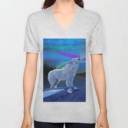 Arctic Prayer - White Wolf and Aurora Unisex V-Neck