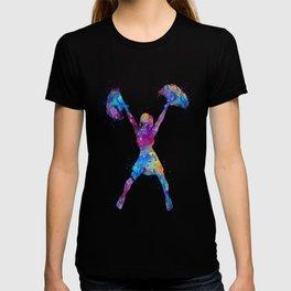 Girl Cheerleader Watercolor Art Colorful Gift T-shirt