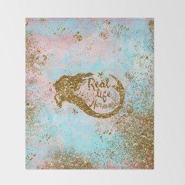 Faux Gold Glitter- REAL LIFE MERMAID On Sea Foam Throw Blanket