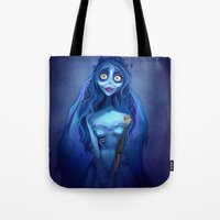 emily rickard Tote Bags featuring Emily  by This Is Niniel Illustrator