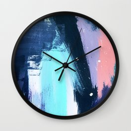 Playful [3]: a bold abstract piece in vibrant blues, pink, purple and white Wall Clock
