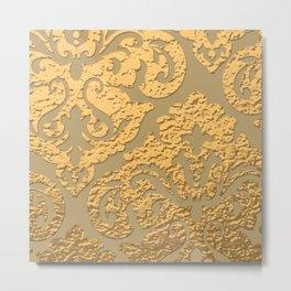 Gold Metallic Damask Print Metal Print