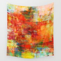 thanksgiving Wall Tapestries featuring AUTUMN HARVEST - Fall Colorful Abstract Textural Painting Warm Red Orange Yellow Green Thanksgiving by EbiEmporium