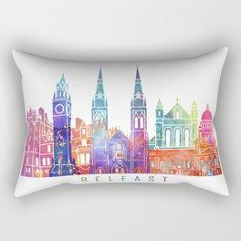 Belfast skyline landmarks in watercolor Rectangular Pillow
