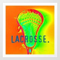 lacrosse Art Prints featuring LACROSSE. ORANGE by TMCdesigns