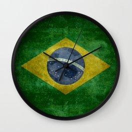 Vintage Brazilian National flag with football (soccer ball) Wall Clock
