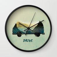 drive Wall Clocks featuring drive by yuvalaltman