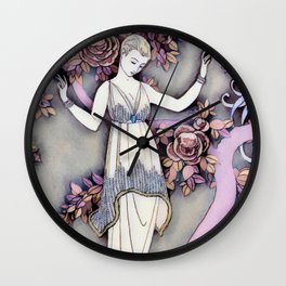 Art Deco Spring Queen Vintage Oil Painting Pink Gray Wall Clock