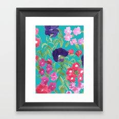 Blue Floral Print Framed Art Print