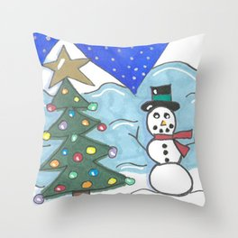 Snowman and Tree Throw Pillow