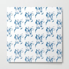 Follow the Herd Pattern - Blue #761 Metal Print