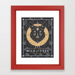 Wild & Free Wolf – Gold & Grey Framed Art Print
