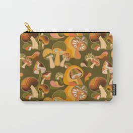 70s Mushroom, Retro Pattern Carry-All Pouch