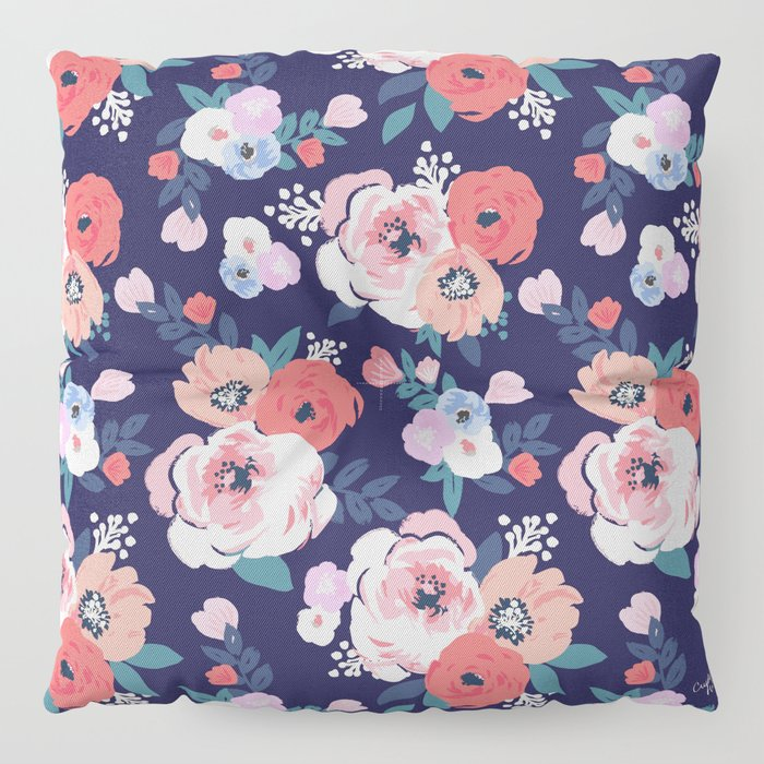 Aurora Floral Floor Pillow by crystalwalen | Society6